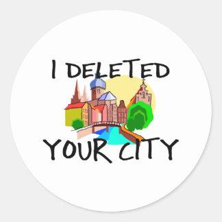 Ciudad suprimida pegatina redonda