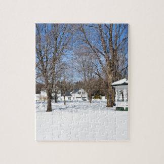 Ciudad típica de Vermont en invierno Puzzle Con Fotos