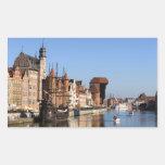 Ciudad vieja de Gdansk en Polonia Rectangular Pegatinas