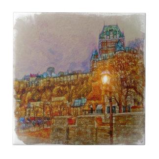 Ciudad vieja de la ciudad de Quebec por el mac de  Azulejo Cuadrado Pequeño
