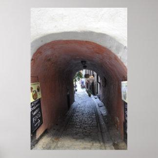 Ciudad vieja del callejón de Estocolmo Suecia Póster