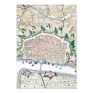"""Ciudad vieja del vintage antiguo del mapa del invitación 5"""" x 7"""""""