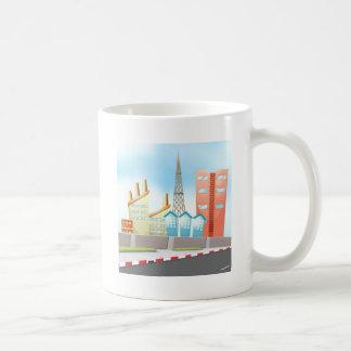 Ciudad y camino taza de café