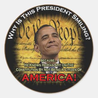 Ciudadanía de Obama cuestionable Pegatina Redonda