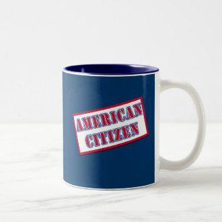 Ciudadano americano taza de café de dos colores