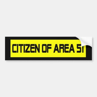 Ciudadano del área 51 pegatina de parachoque