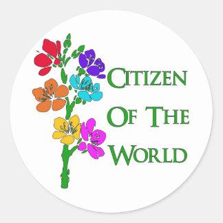 Ciudadano del mundo pegatinas redondas