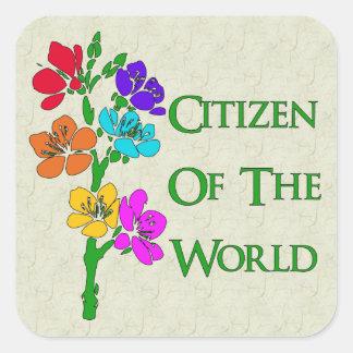 Ciudadano del mundo pegatina cuadrada