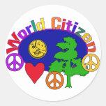Ciudadano del mundo pegatina redonda