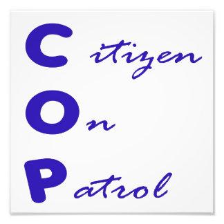 Ciudadano en la impresión de la foto de la patrull fotografía