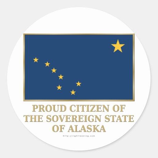 Ciudadano orgulloso de Alaska Etiquetas Redondas