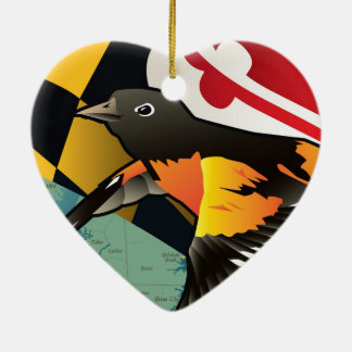 Ciudadano Oriole, pájaro del estado de Maryland Adorno De Cerámica En Forma De Corazón