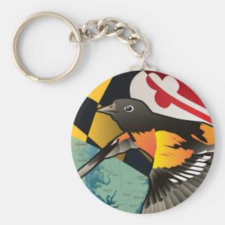 Ciudadano Oriole, pájaro del estado de Maryland Llavero Redondo Tipo Pin