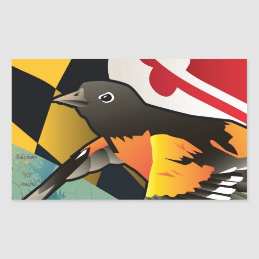 Ciudadano Oriole, pájaro del estado de Maryland Pegatina Rectangular