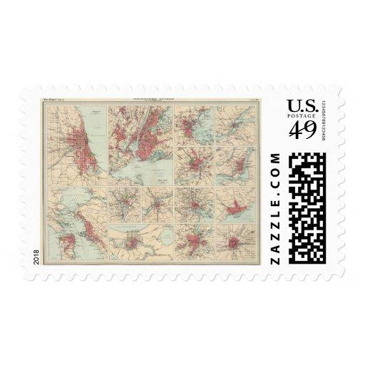 Ciudades americanas en escala uniforme sellos