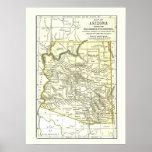 Ciudades, carril y reservas del mapa 1891 de Arizo Poster