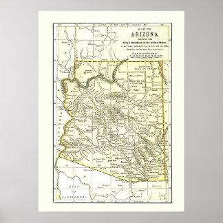 Ciudades, carril y reservas del mapa 1891 de póster