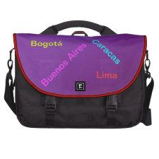 Ciudades de América Latina - púrpura Laptop Messenger Bag
