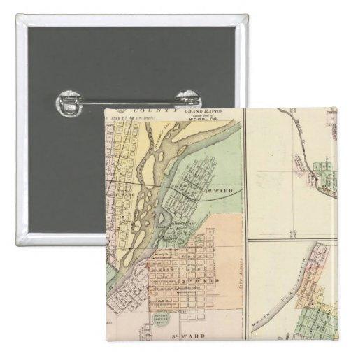 Ciudades de Centralia y de Grand Rapids Pin Cuadrada 5 Cm
