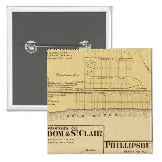 Ciudades de la libertad y de St Clair con Philipps Pin Cuadrada 5 Cm