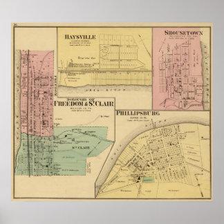 Ciudades de la libertad y de St Clair con Philipps Póster