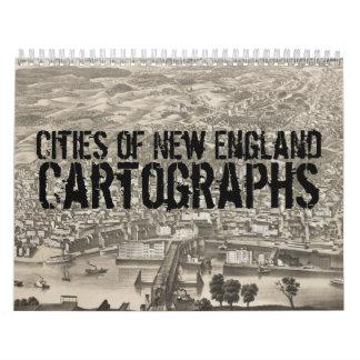 Ciudades del calendario de Cartographs del vintage