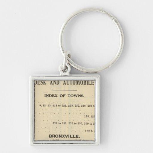 Ciudades del índice, Bronxville Llavero Cuadrado Plateado