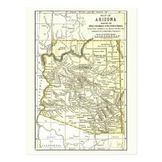Ciudades del mapa 1891 de Arizona, carril, reserva Tarjeta Postal