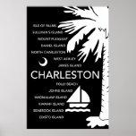 Ciudades del SC de Charleston - negro Posters