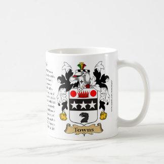 Ciudades, el origen, el significado y el escudo taza de café