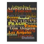 Ciudades en todo el mundo postal