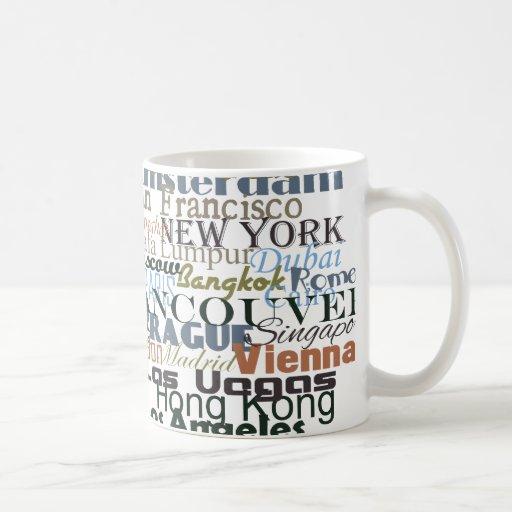 Ciudades en todo el mundo taza de café