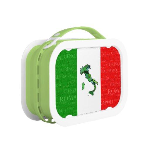 Ciudades, mapa, y bandera de Italia
