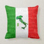 Ciudades, mapa, y bandera de Italia Almohada