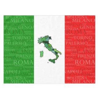 Ciudades, mapa, y bandera de Italia Mantel De Tela