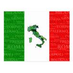 Ciudades, mapa, y bandera de Italia Postal
