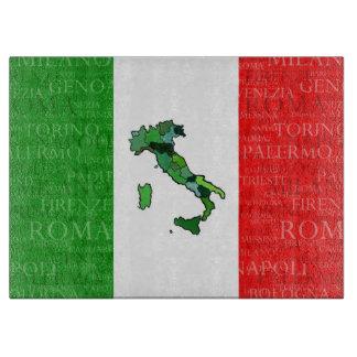 Ciudades, mapa, y bandera de Italia Tabla Para Cortar