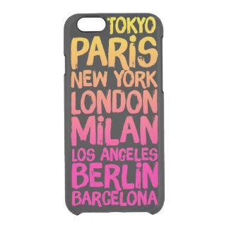 Ciudades preferidas de neón funda clearly™ deflector para iPhone 6 de uncommon