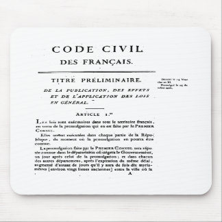 Civil Code of France 1st page printed on mousepad