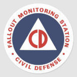 Civil Defense Fallout Monitoring Station Decal Classic Round Sticker