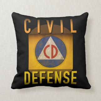 Civil Defense Symbol Retro Atomic Age Grunge : Throw Pillow