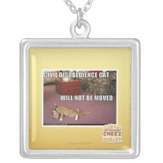Civil Disobedience Cat Silver Plated Necklace