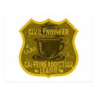Civil Engineer Caffeine Addiction League Postcard