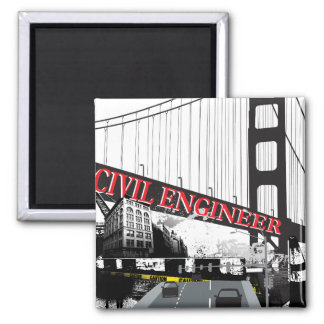 Civil Engineer 2 Inch Square Magnet