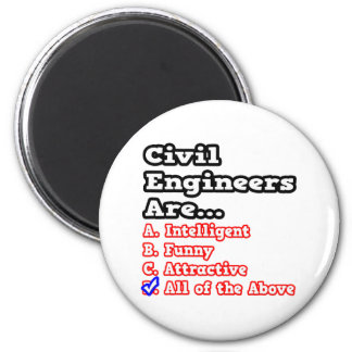 Civil Engineer Quiz...Joke 2 Inch Round Magnet
