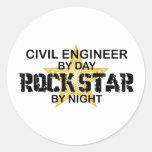 Civil Engineer Rock Star Stickers