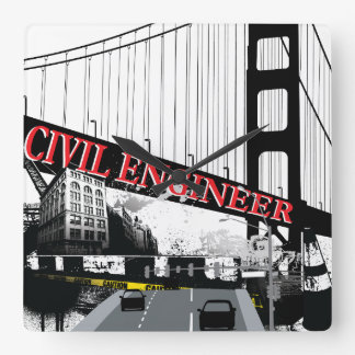 Civil Engineer Square Wall Clock