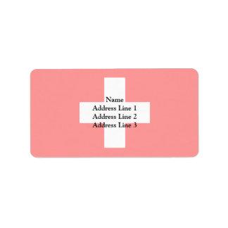 Civil Ensign Of Switzerland, Sweden flag Address Label