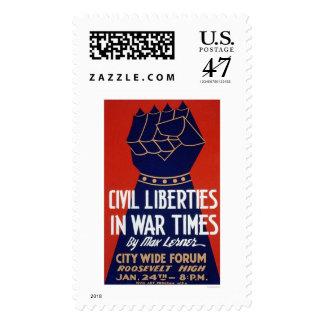 Civil Liberty WWII 1940 WPA Postage Stamp