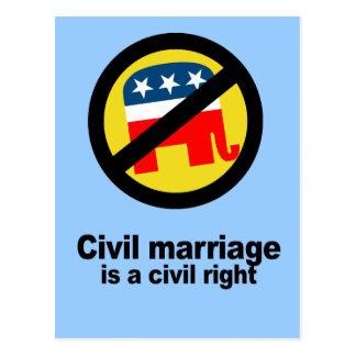 Civil marriage is a civil right postcard